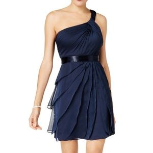 NWT Navy Tiered One Shoulder Cocktail Midi Dress